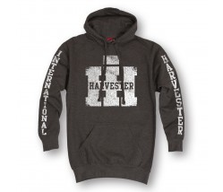 IH Worn Logo and Sleeve Print Hoodie in Red and Heather Gray